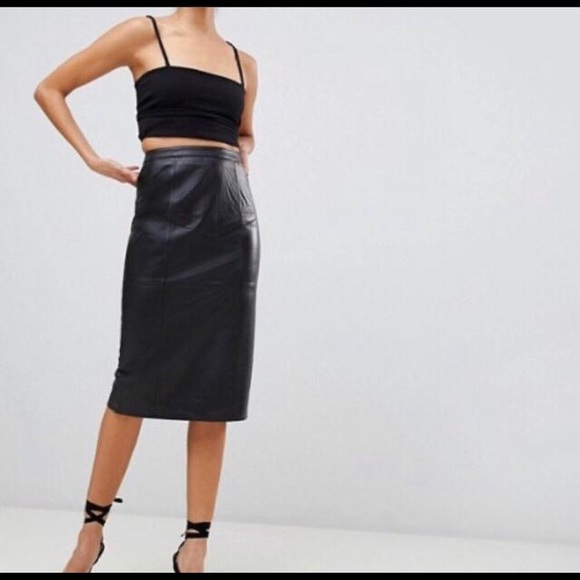 ASOS Dresses & Skirts - ASOS Design Real Leather Midi Pencil Skirt